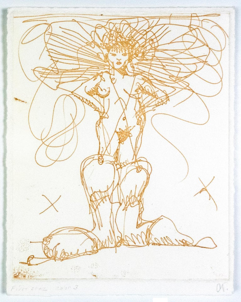 Claes Oldenburg Figurative Print - Boot Fairy (First state color 3) Oldenburg etching of nude woman in cowboy boots