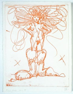 Boot Fairy (First state color 4) Oldenburg etching of nude woman in cowboy boots