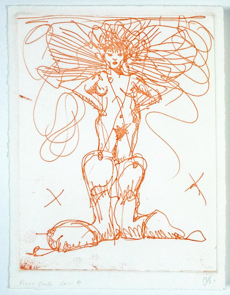 Claes Oldenburg Figurative Print - Boot Fairy (First state color 4) Oldenburg etching of nude woman in cowboy boots