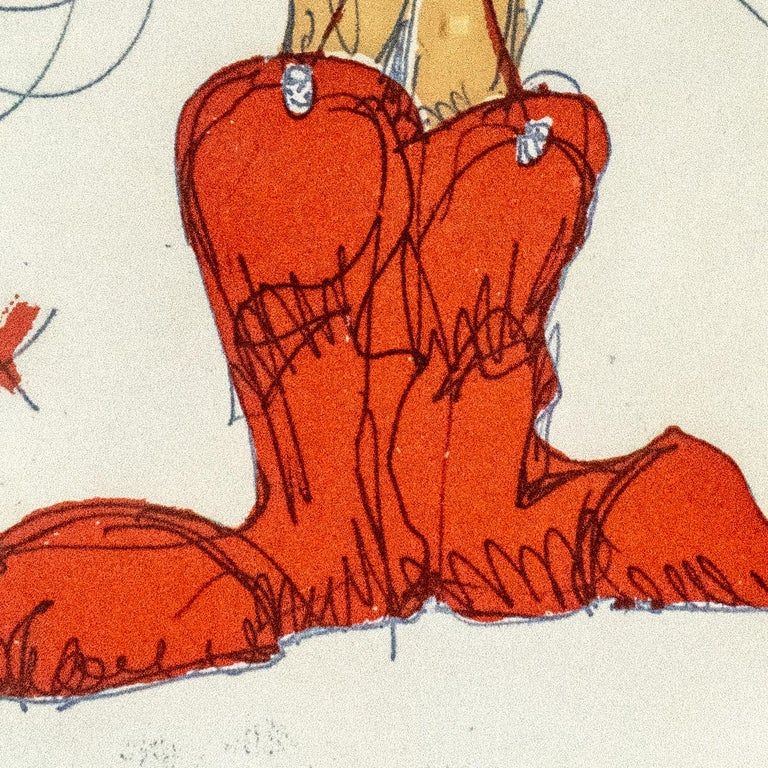 Boot Fairy (fourth state) by Claes Oldenburg: nude woman in red cowboy boots 2
