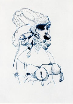 Bust (Indigo blue): Erotic drawing of nude bound woman