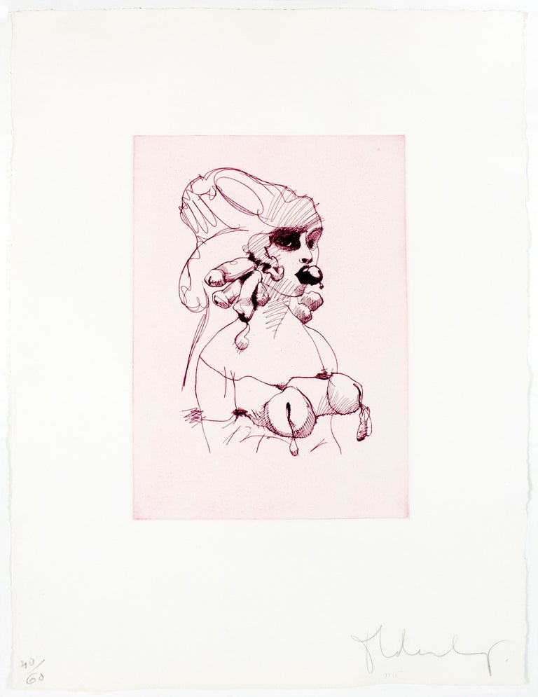 Bust (Mauve): Erotic drawing of nude bound woman - Print by Claes Oldenburg