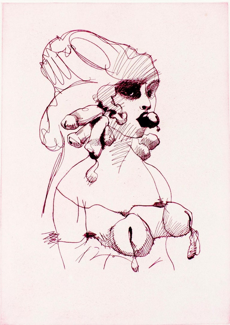 Claes Oldenburg Figurative Print - Bust (Mauve): Erotic drawing of nude bound woman