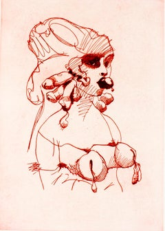 Bust (Vermilion): Erotic drawing of nude bound woman