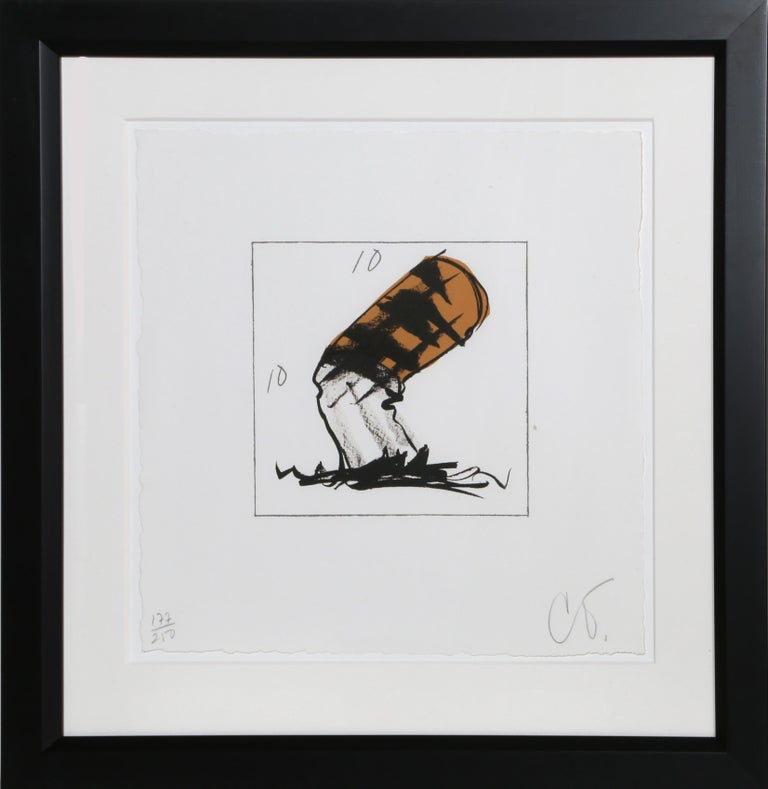 Artist: Claes Oldenburg Title: Cigarette Butt Year: 1991 Medium: Lithograph, signed and numbered in pencil Edition: 177/250  Size: 18.5 x 18.5 inches Frame Size: 28.5 x 27.5 inches