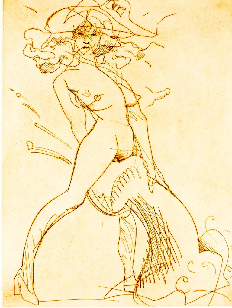 This etching features a nude woman in high heels. Whipping her head to the left, she gazes intently past the viewer through a wild tangle of tresses. A sunhat with a bow nearly floats off her head, a tongue-in-cheek nod to modesty. Taking a wide