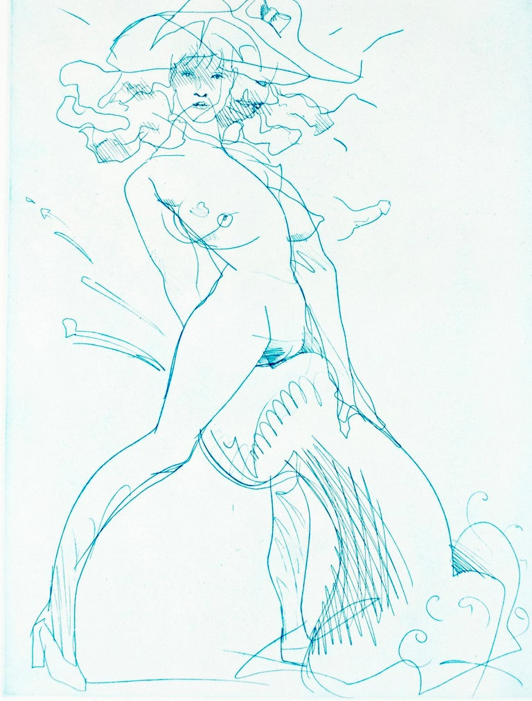 Claes Oldenburg Figurative Print - Figure and Phallus: erotic nude drawing of woman in heels in rainbow of colors