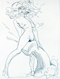 Figure and Phallus I (Indigo blue): erotic nude drawing of woman in heels