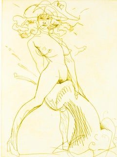 Figure and Phallus I (Yellow-ochre): erotic nude drawing of woman in heels