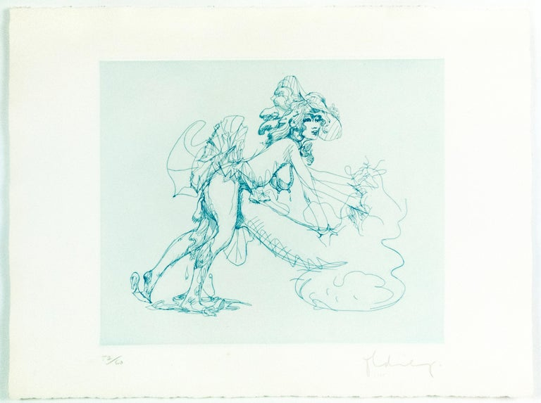 Figure in Skirt Claes Oldenburg playful erotic nude etching in rainbow of color - White Figurative Print by Claes Oldenburg