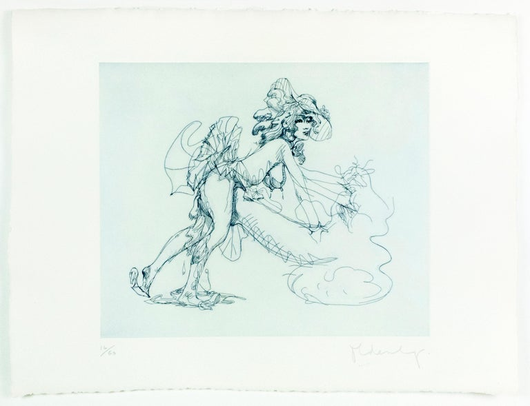 Image 19.6 x 23.5 in / 50 x 60 cm Paper 27.125 x 36 in./ 69 x 91.4 cm  Etching in one color on white, thick, slightly textured Wookey Hole handmade paper watermarked with artist's signature. Signed by the artist and dated 1975 lower right in pencil.