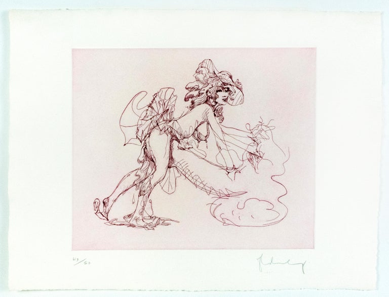 Figure in Skirt Claes Oldenburg playful erotic nude etching in rainbow of color For Sale 1