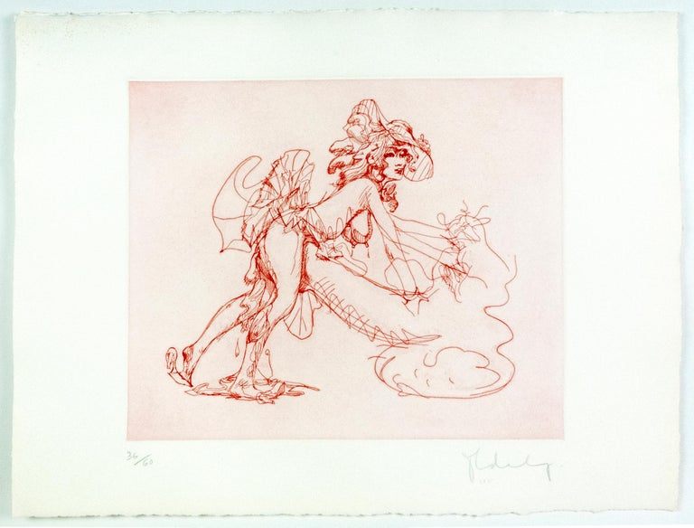 Figure in Skirt Claes Oldenburg playful erotic nude etching in rainbow of color For Sale 2