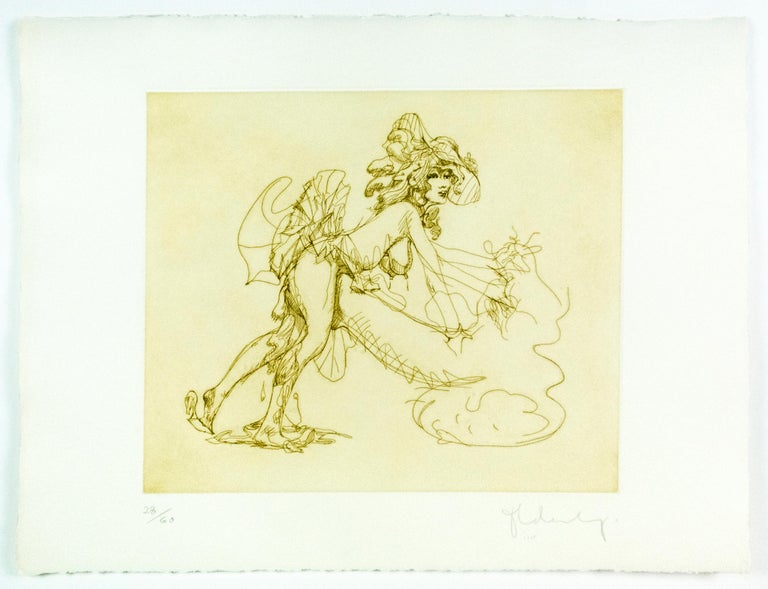 Figure in Skirt Claes Oldenburg playful erotic nude etching in rainbow of color For Sale 3