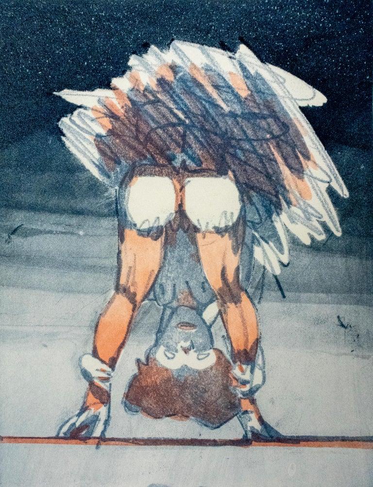 Figure Looking through Legs Claes Oldenburg nude etching of woman in skirt - Print by Claes Oldenburg