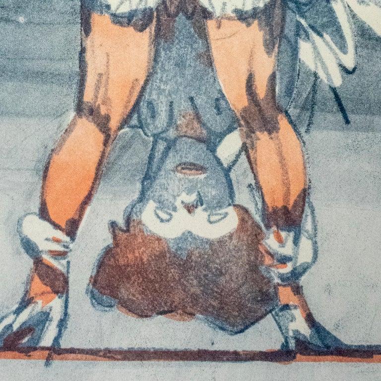 Figure Looking through Legs Claes Oldenburg nude etching of woman in skirt - Beige Portrait Print by Claes Oldenburg