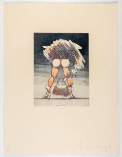 Figure Looking through Legs Claes Oldenburg nude etching of woman in skirt