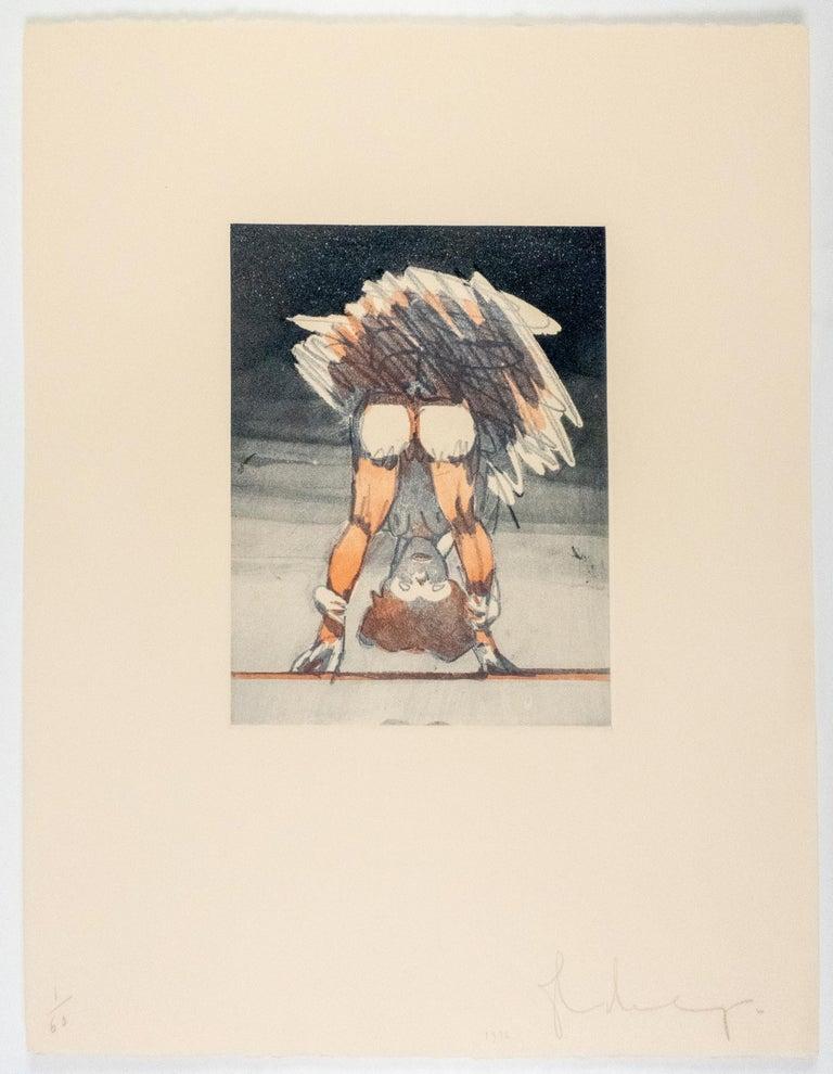 Figure Looking through Legs Claes Oldenburg nude etching of woman in skirt - Pop Art Print by Claes Oldenburg