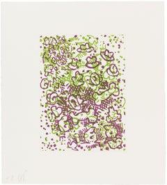 Hats, Bones, Q's, Etc. Claes Oldenburg colorful abstract Pop Art in purple green