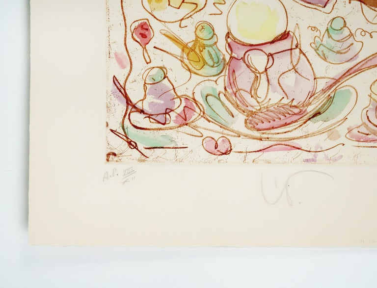 Ice Cream Desserts (A) Claes Oldenburg dessert parfait etching in rainbow pastel - White Figurative Print by Claes Oldenburg