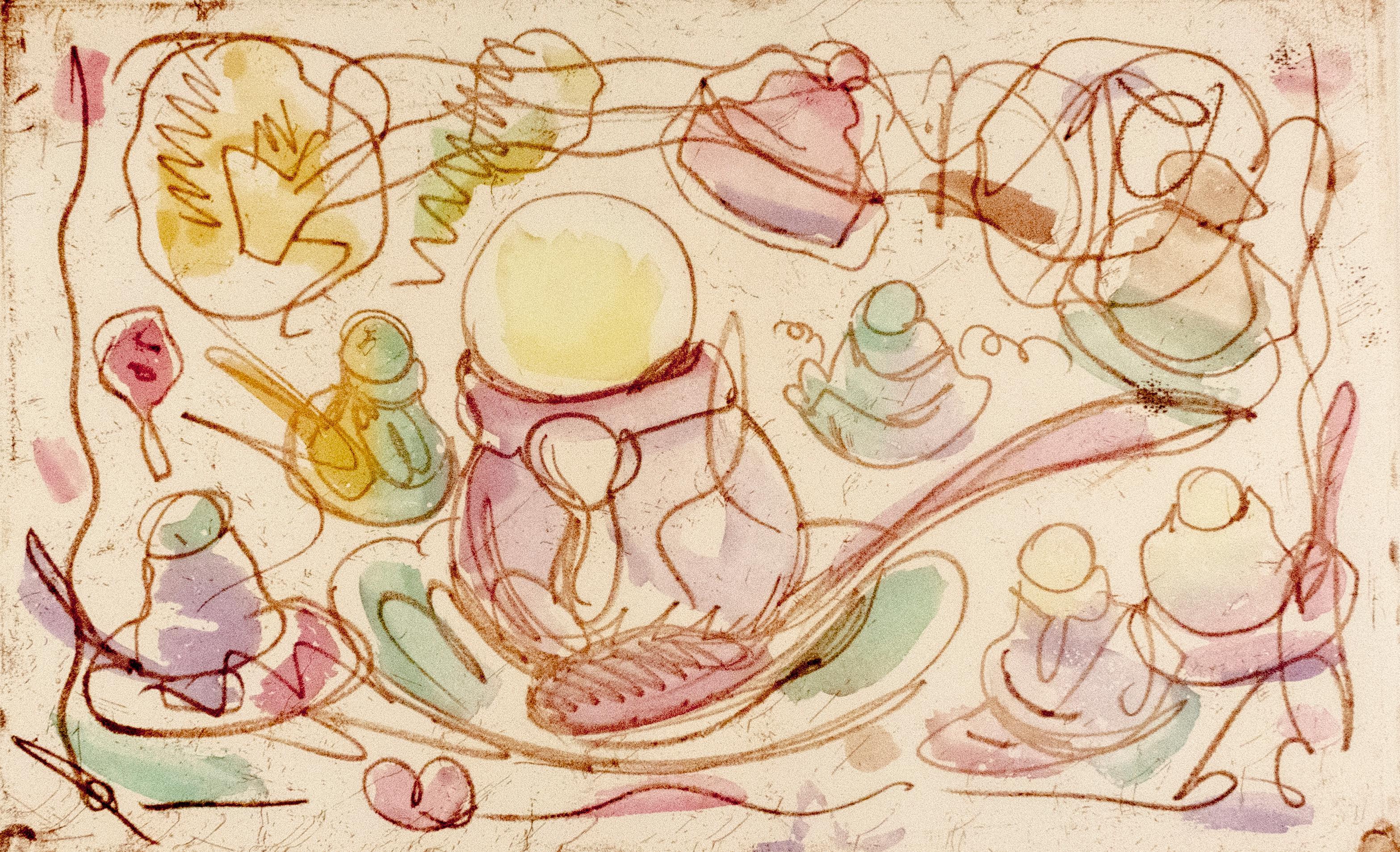 Ice Cream Desserts (A) Claes Oldenburg dessert parfait etching in rainbow pastel