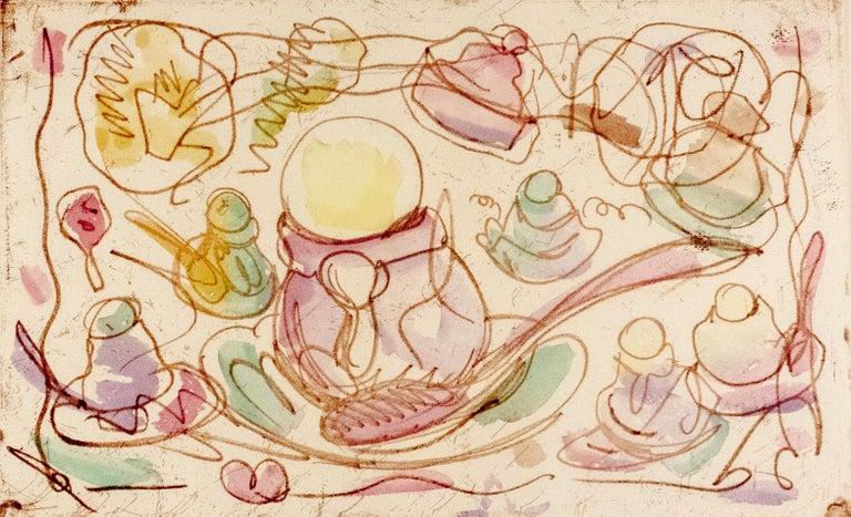 Ice Cream Desserts (A) Claes Oldenburg dessert parfait etching in rainbow pastel - Print by Claes Oldenburg