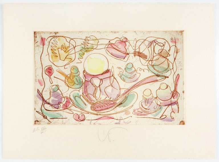 Ice Cream Desserts (A) Claes Oldenburg dessert parfait etching in rainbow pastel - Pop Art Print by Claes Oldenburg