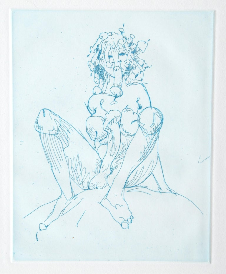 Artist: Claes Oldenburg Title: Medusa Year: 1971 Medium: Etching on Wove paper, signed and numbered in pencil Edition: 20/60 Image Size: 9.6 x 7.75 inches Size: 25 x 20.15 in. (63.5 x 51.18 cm) Frame Size: 26.75 x 21.5 inches