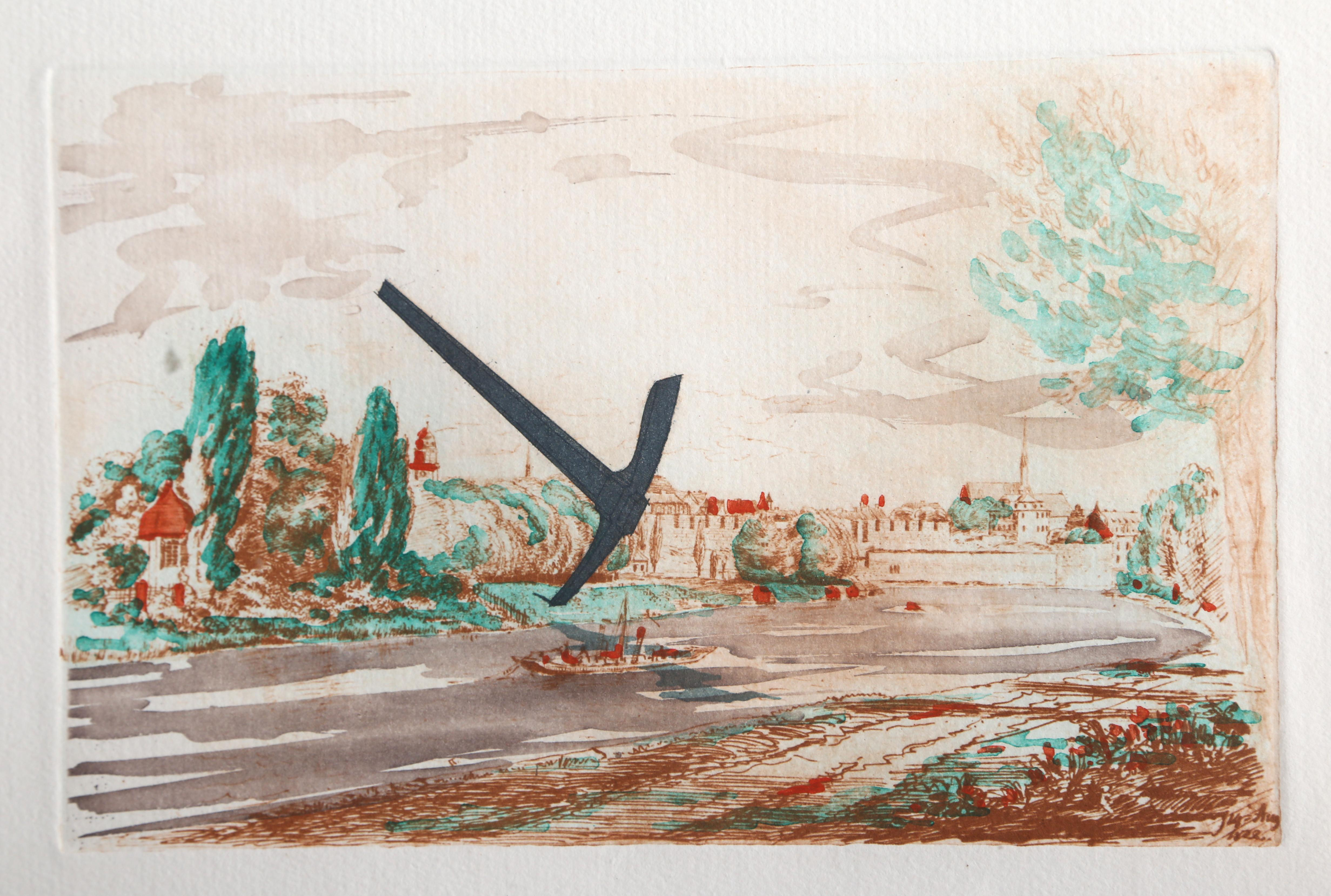 Pick Axe in Landscape, Etching by Claes Oldenburg 1982