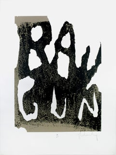 Ray Gun by Claes Oldenburg: screen print with raw black grey industrial texture