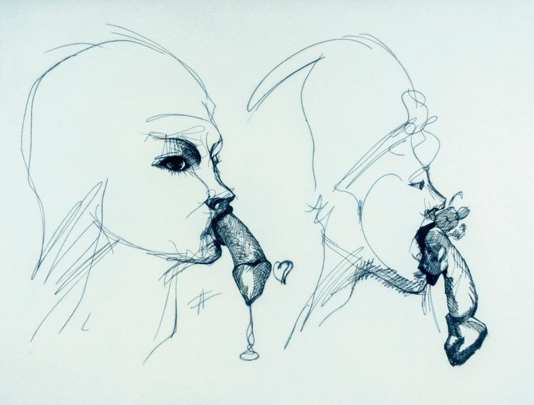 Two Profiles Claes Oldenburg playful erotic etching in rainbow of color - Print by Claes Oldenburg