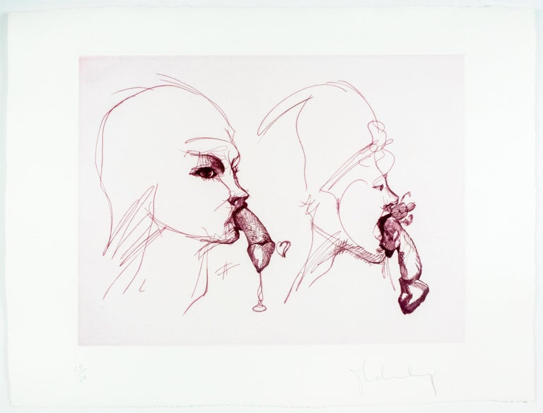 Two Profiles Claes Oldenburg playful erotic etching in rainbow of color - Gray Figurative Print by Claes Oldenburg
