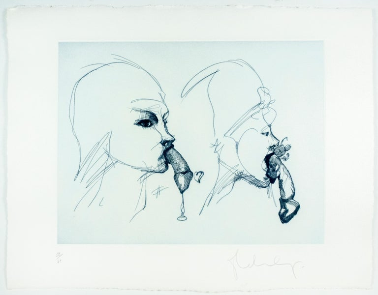 Two Profiles Claes Oldenburg playful erotic etching in rainbow of color For Sale 1