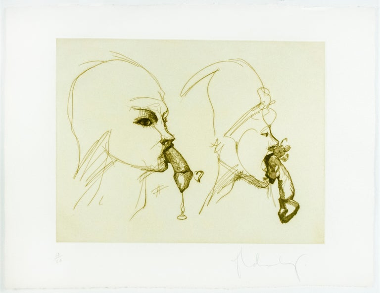 Two Profiles Claes Oldenburg playful erotic etching in rainbow of color For Sale 3