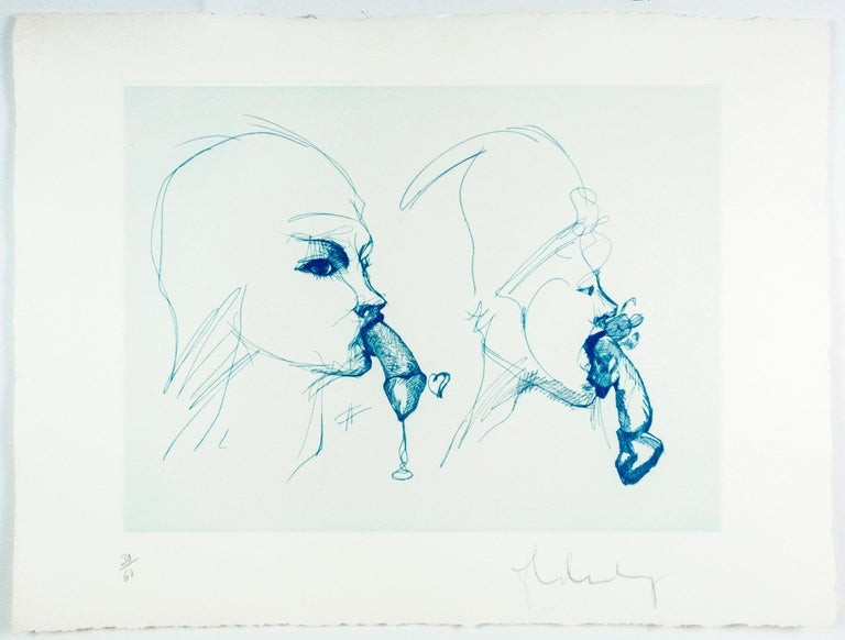 Two Profiles Claes Oldenburg playful erotic etching in rainbow of color - Pop Art Print by Claes Oldenburg