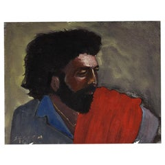 Clair Seglem Horizontal Portrait Painting of a Man in Red and Blue