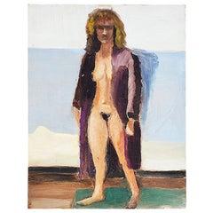 Clair Seglem Original Portrait Painting of a Nude Woman in Purple