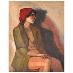 Clair Seglem Portrait Painting of a Nude Woman, Unsigned