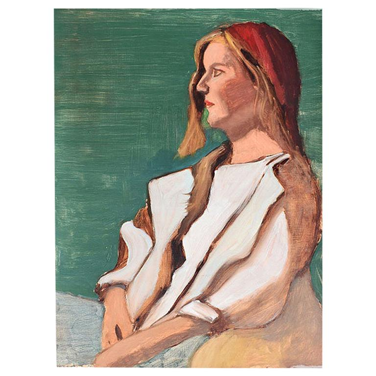 Clair Seglem Portrait Painting of a Woman in Green, 20th Century Unsigned
