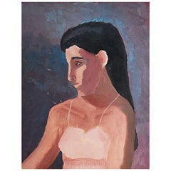 Clair Seglem Vintage Tall Portrait Painting of a Woman in Pink Dress