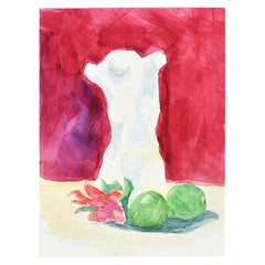 Clair Seglem Watercolor Painting of Marble Torso on Magenta Background