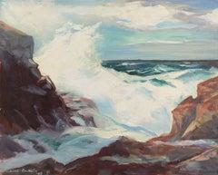 California Breakers   (Woman Artist, Seascape, Mid-century, Impressionism, Blue)