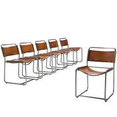 Claire Bataille and Paul Ibens Dining Chairs in Cognac Leather