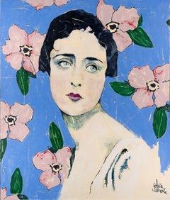 Myrrhe Eglantine-Flowers, blossom, surrealistic, Contemporary, figurative, Woman
