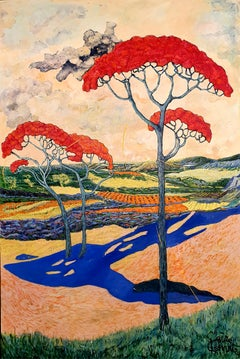 Stoned Pine - Surrealistic, Contemporary Art, 21stC., modern, landscape, trees