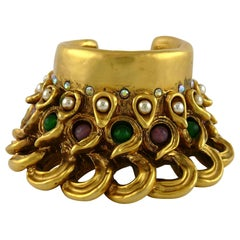 Claire Deve Vintage Massive Jewelled Cuff Bracelet