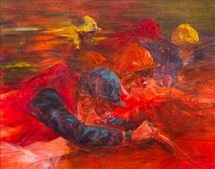 Silks by Claire Eva Burton (b.1955) , Jockeys Rides Horses in Horse Racing