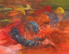 Silks by Claire Eva Burton, Oil on Board, Signed