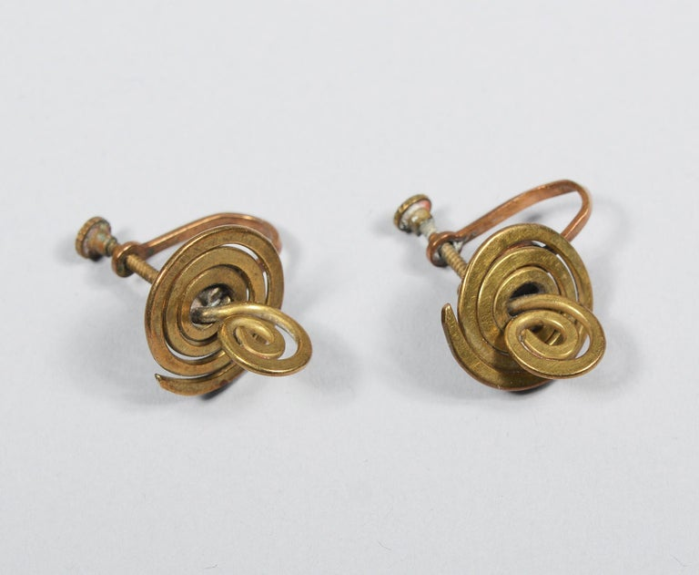 Claire Falkenstein Articulated Brooch and Earrings For Sale 3