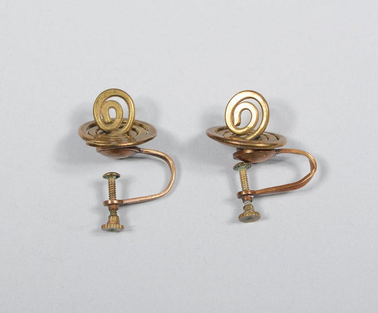 Claire Falkenstein Articulated Brooch and Earrings For Sale 5